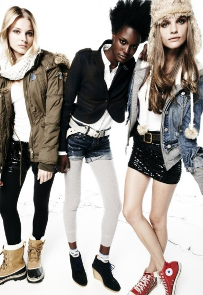 Ieva Laguna & Regina Feoktistova by Nagi Sakai for American Eagle Holiday 2010