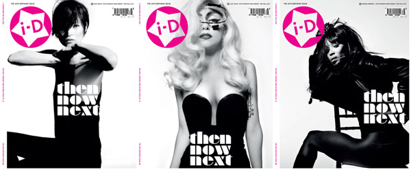 <em>i-D</em> Pre-Fall 2010 Cover | Kate Moss, Naomi Campbell & Lady Gaga by Nick Knight