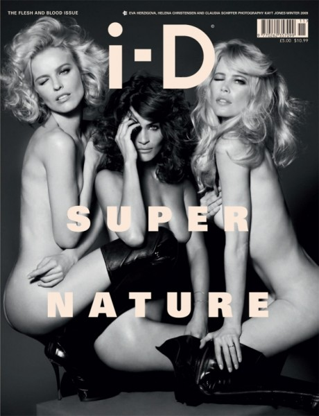 i-D Winter 2009 Cover | The Flesh & Blood Issue–Eva Herzigova, Helena Christensen & Claudia Schiffer by Kayt Jones