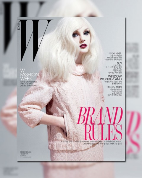 <em>W Korea</em> February 2011 Cover | Jessica Stam by Catherine Servel