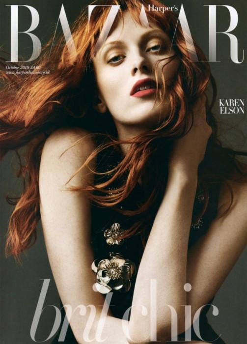 Harper's Bazaar UK October 2010 Cover   Karen Elson by Alexi Lubomirski