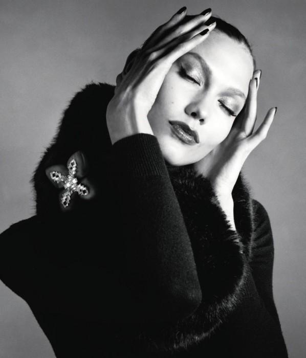 Karlie Kloss Wears Black & Navy Looks for the Neiman Marcus September Book