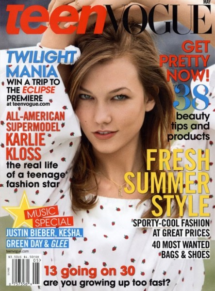 <em>Teen Vogue</em> May 2010 Cover | Karlie Kloss by Patrick Demarchelier