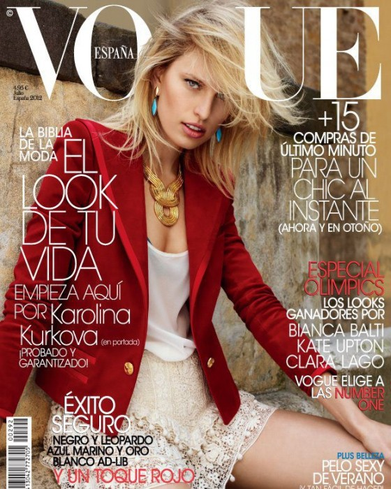 Karolina Kurkova Is in the Red for Vogue Spain's July 2012 Cover