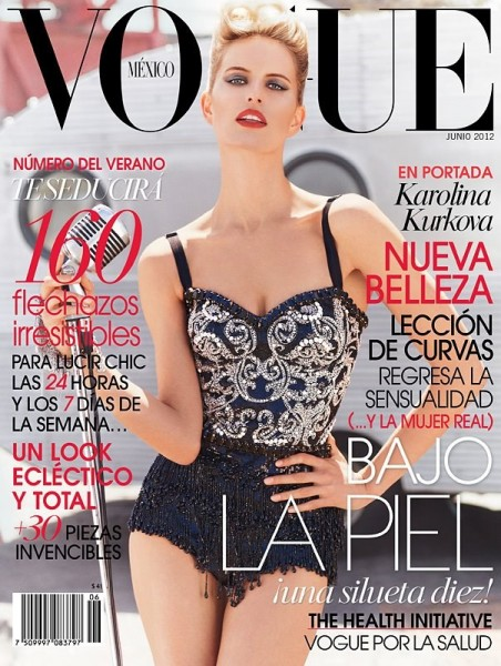 Covering Vogue Mexico June, Karolina Kurkova Dazzles in Dolce & Gabbana
