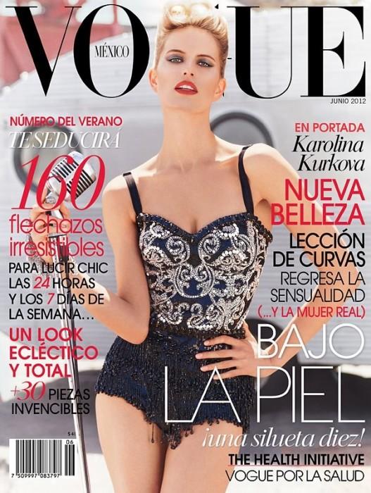Covering Vogue Mexico June, Karolina Kurkova Dazzles in Dolce & Gabbana