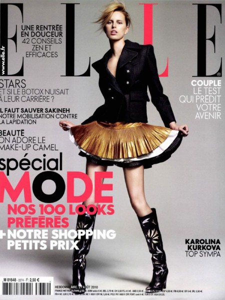 <em>Elle France</em> August 27, 2010 Cover | Karolina Kurkova by Jean-Baptiste Mondino