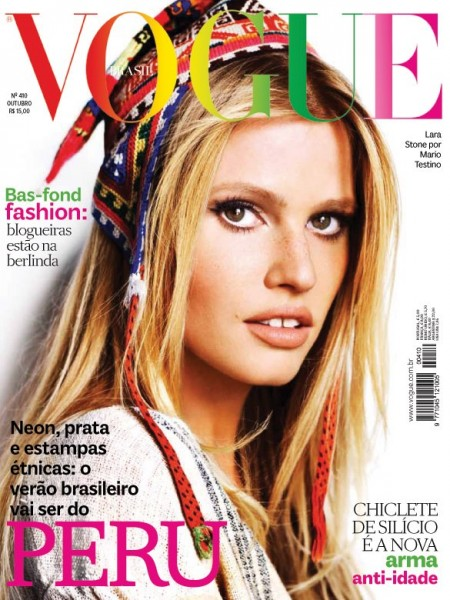 Lara Stone Graces the October 2012 Cover of Vogue Brazil