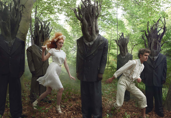 Vogue December 2009 | Little Girl & Boy Lost–Lily Cole, Andrew Garfield & Lady GaGa by Annie Leibovitz