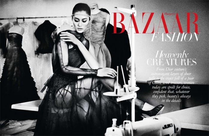 Liu Wen by Gan in DIor for Harper's Bazaar Singapore June 2012