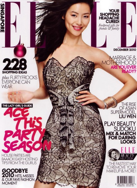 <em>Elle Singapore</em> December 2010 Cover | Liu Wen by Thomas Mangieri