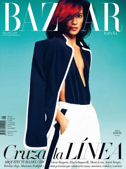 Liya Kebede Covers Harper's Bazaar Spain May 2012 in Gucci
