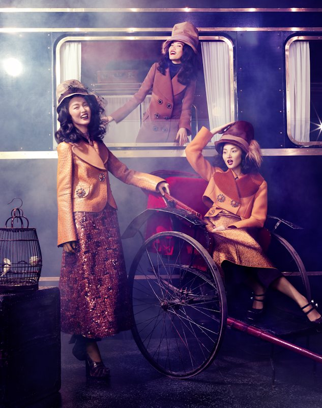 Tian Yi, Bonnie Chen, Miao Bin Si & Others Ride the Louis Vuitton Express for Vogue China Collections F/W 2012 by Stockton Johnson