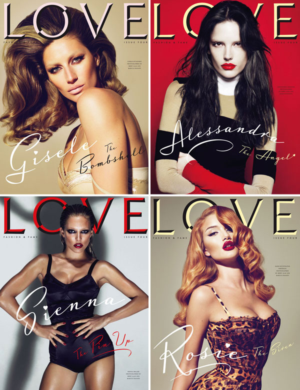 LOVE Magazine #4 Covers | Gisele, Alessandra, Agyness, Rosie, Lauren, Sienna & Kelly by Mert & Marcus