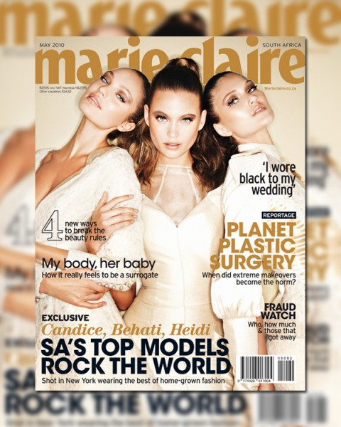 <em>Marie Claire South Africa</em> May 2010 Cover | Candice Swanepoel, Behati Prinsloo & Heidi Verster