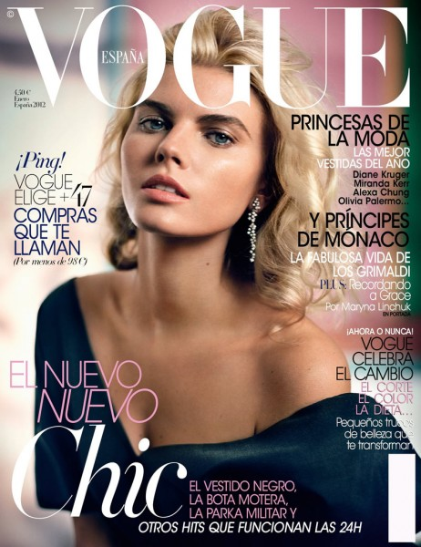 <em>Vogue Spain</em> January 2012 Cover | Maryna Linchuk by Vincent Peters