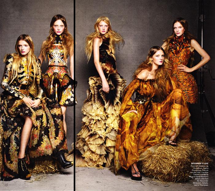 Lily Donaldson, Sasha Pivovarova & Caroline Trentini in Alexander McQueen Spring 2011 for Vogue US
