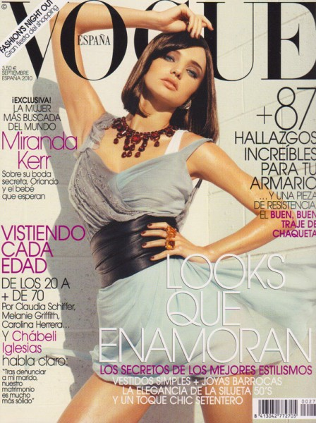 <em>Vogue Spain</em> September 2010 Cover | Miranda Kerr by Tom Munro