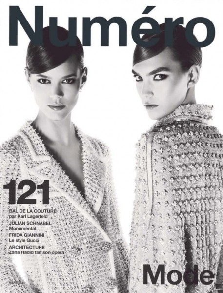 <em>Numéro</em> #121 March 2011 Cover | Freja Beha Erichsen & Arizona Muse by Karl Lagerfeld