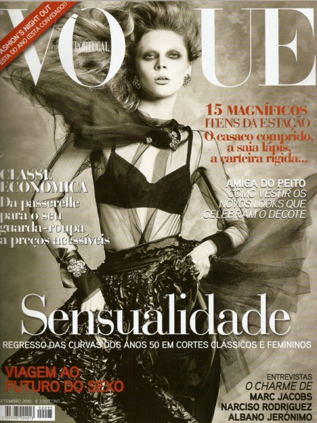 <em>Vogue Portugal</em> September 2010 Cover | Olga Sherer by Bojana Tatarska