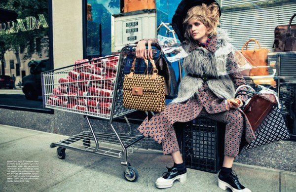 Magdalena Langrova Plays Bag Lady for Sebastian Kim's Vogue Germany Shoot
