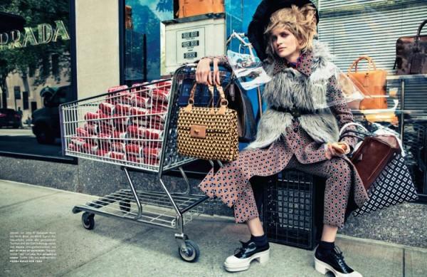 Magdalena Langrova Plays Bag Lady for Sebastian Kim's Vogue Germany Shoot