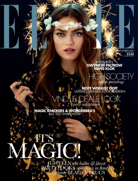 <em>Elle Netherlands</em> December 2011 Cover | Sophie Vlaming by Pablo Delfos
