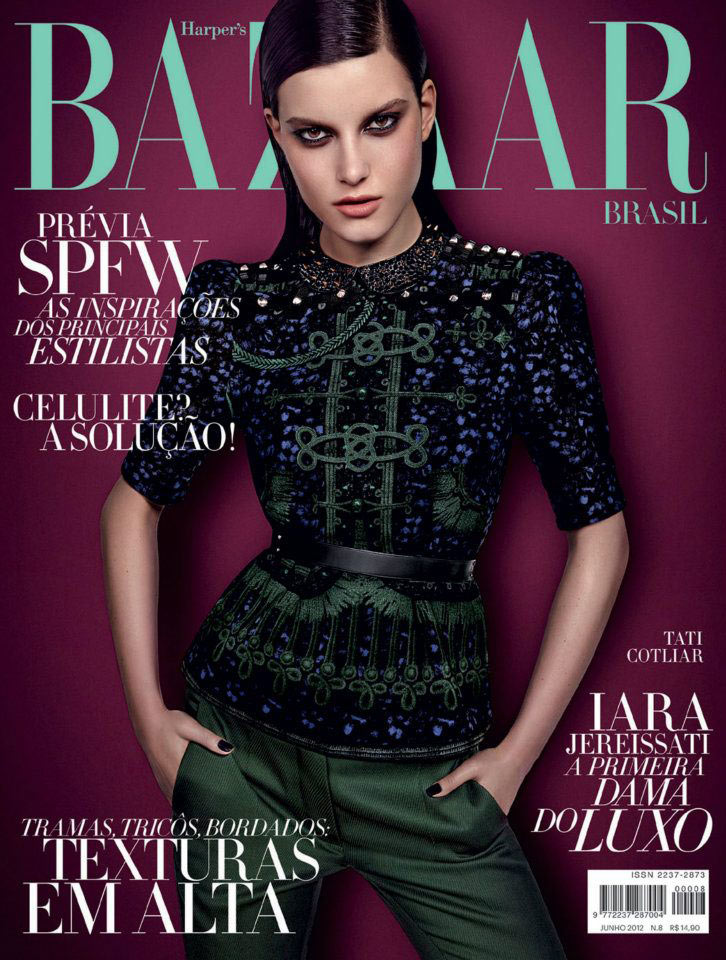 Tati Cotliar is Gothic Chic for the June Cover of Harper's Bazaar Brazil
