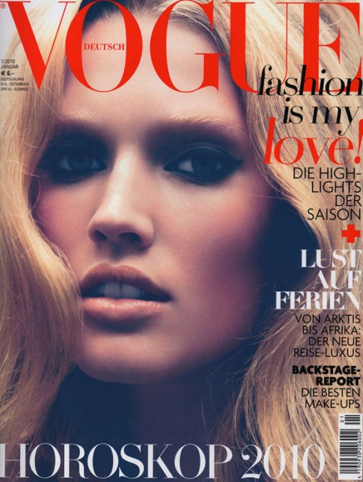 Cover   Toni Garrn by Camilla Akrans for Vogue Germany January