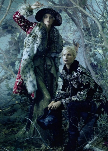 Sasha Pivovarova, Caroline Trentini &#038; Christina Kruse in Universal Coverage by Steven Meisel | <em>Vogue US</em> August 2010