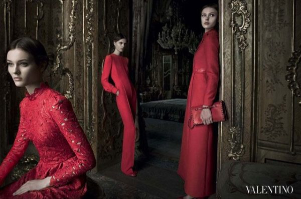 Frida Gustavsson, Jac Jagaciak & Caroline Brasch Nielsen Wear Red in Valentino's Fall 2012 Campaign by Deborah Turbeville