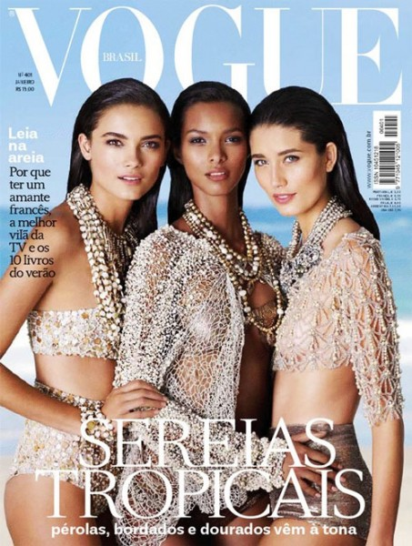 <em>Vogue Brazil</em> January 2012 Cover | Tayane Leao, Lais Ribeiro & Marcelia Freesz by J.R. Duran