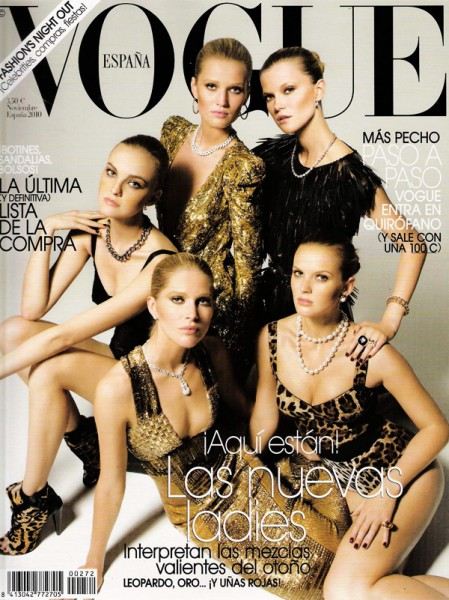 <em>Vogue Spain</em> November 2010 Cover | Caroline T, Iselin, Kasia, Toni & Anne V by Victor Demarchelier