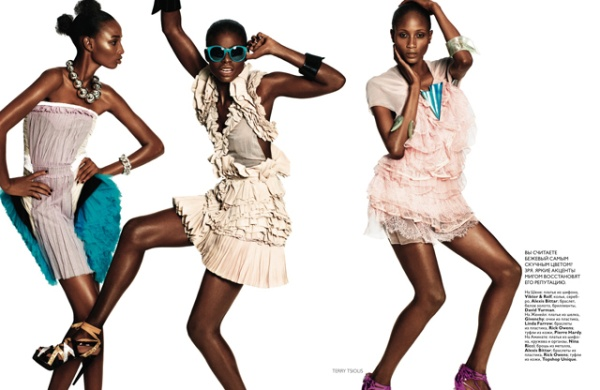 Sedene, Jeneil, Shena, Reina &#038; Aminata for <em>Vogue Russia</em> July 2010 by Terry Tsiolis