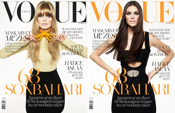 <em>Vogue Turkey</em> October 2010 Cover | Hilary Rhoda & Julia Stegner by Cuneyt Akeroglu