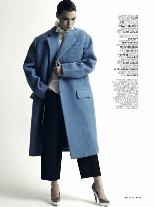 Arizona Muse Dons Menswear Shapes for Vogue Russia November 2012 by Richard Bush