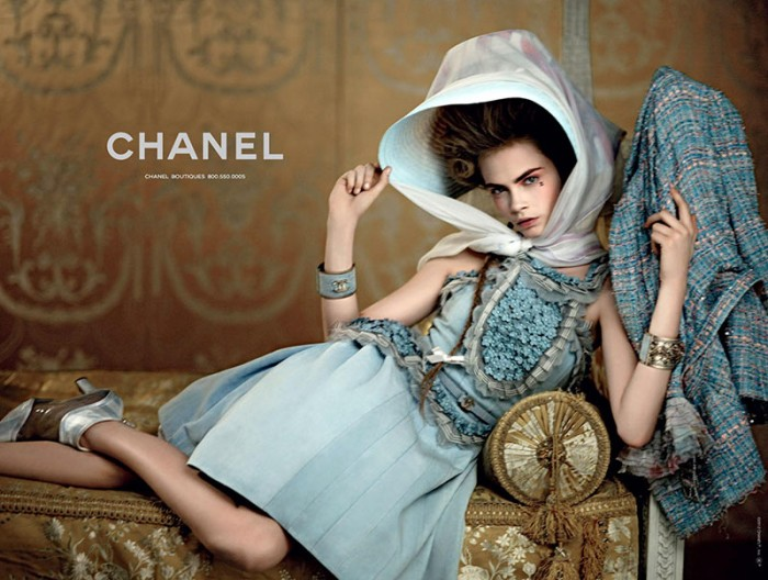 Saskia de Brauw and Cara Delevingne Are Golden for Chanel's Cruise 2013 Campaign by Karl Lagerfeld