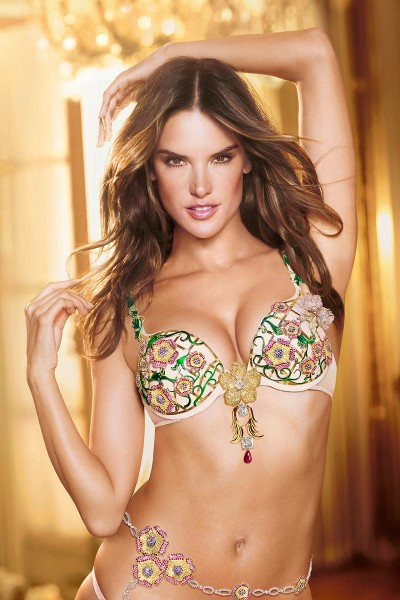 Alessandra Ambrosio Wears the Victoria's Secret Floral Fantasy Bra
