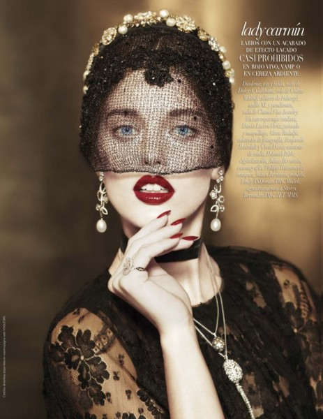 Emily DiDonato is Glam in Black for Vogue Latin America's A/W 2012 Beauty Supplement
