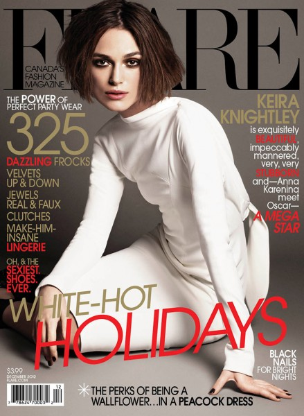 Keira Knightley Wears Winter White for Flare's December 2012 Cover