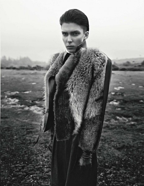 An Outerwear Clad Kristina Salinovic Poses for Richard Bush in Vogue Russia's November Issue