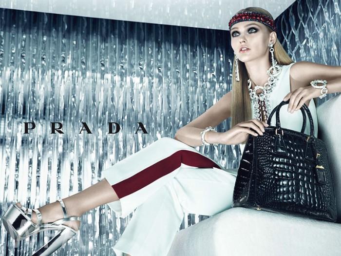 Sasha Pivovarova Makes Her Return to Prada for its Resort 2013 Campaign by Steven Meisel