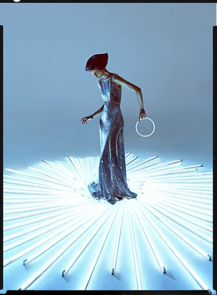 Wang Xiao Lights Up for Harper's Bazaar China Art by Charles Guo