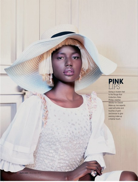 Ajak Deng Dons Chanel Beauty for Marie Claire South Africa's December Issue