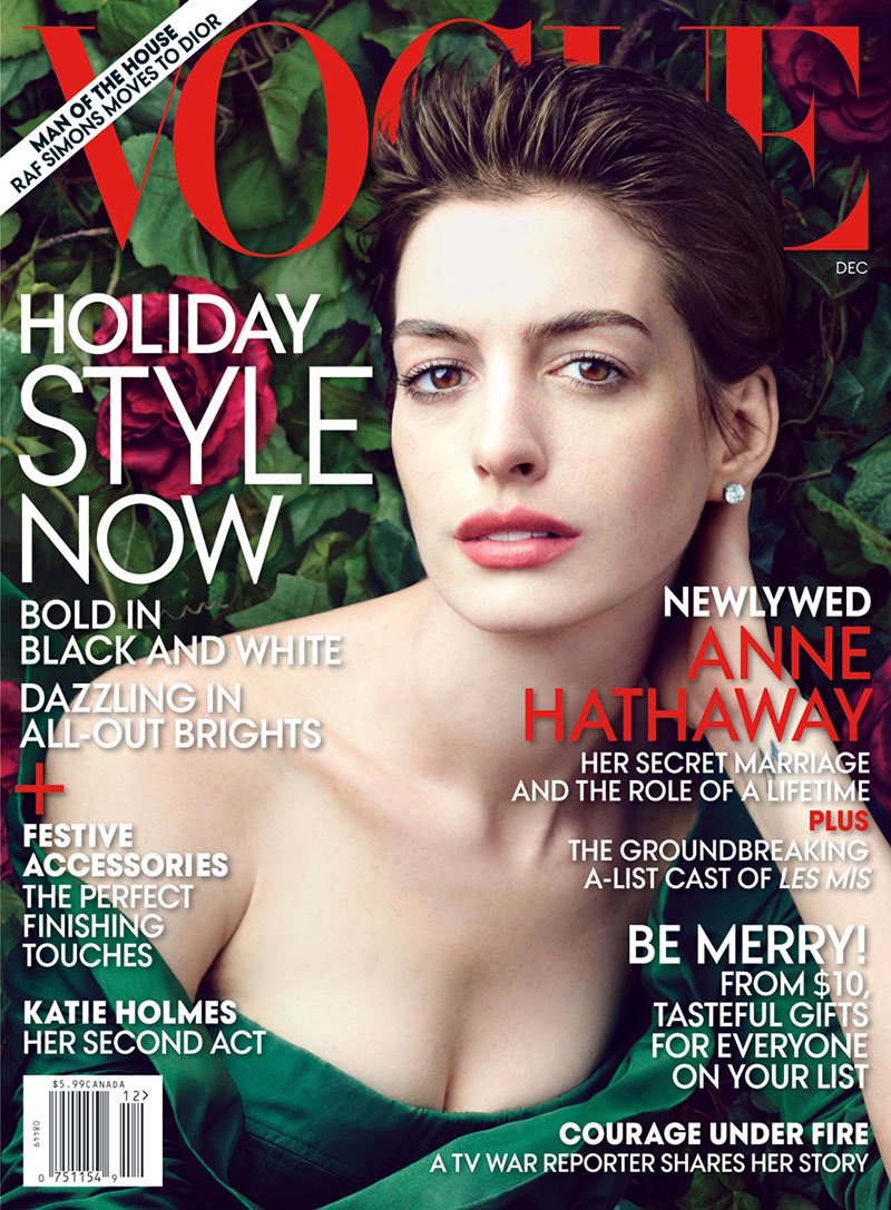 Anne Hathaway Graces the December 2012 Cover of Vogue US