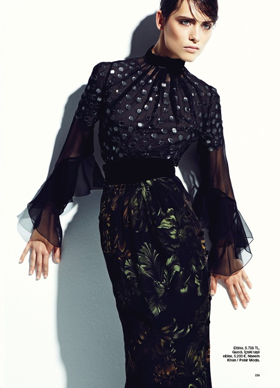 Romana Balazova Dons Evening Glam for Harper's Bazaar Turkey November 2012 by Ahmet Unver