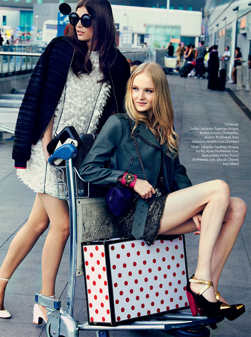 Emilia Nawarecka, Maja Salamon and Karolina Waz Are Jet Setters for Elle Poland's November Cover Shoot