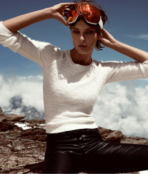 """Daria Werbowy Hits the Slopes for H&M's """"Love the Holidays"""" Winter 2012 Campaign"""