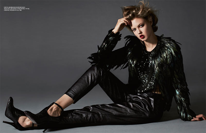 Lindsey Wixson is Glam in Gucci for Harper's Bazaar Korea November 2012 by Michael Schwartz