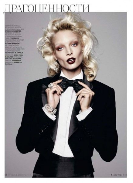 Melissa Tammerijn Suits Up for Vogue Russia December 2012 by David Roemer